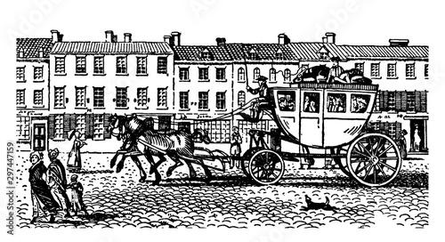 Fotografia, Obraz An Eighteenth Century Stagecoach, vintage illustration.