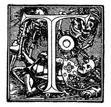 Decorative Letter T, Vintage Illustration
