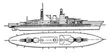 Massachusetts Battleship United States Navy, Vintage Illustration.