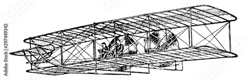 Fotografia, Obraz Wright Brothers Aeroplane, vintage illustration.
