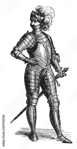 Knight in complete armour, vintage illustration Fototapet