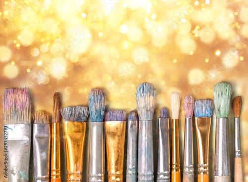 Fototapeta Row of artist paint brushes  on background obraz na płótnie