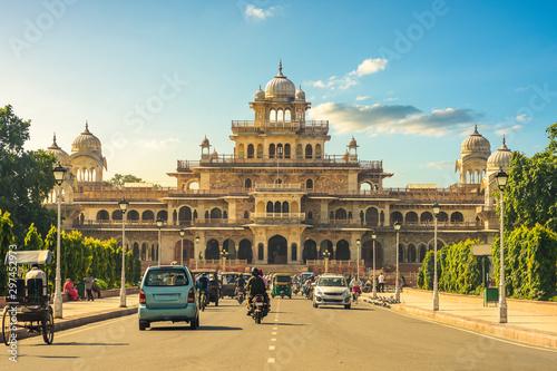 Photo facade of albert hall museum in jaipur, india