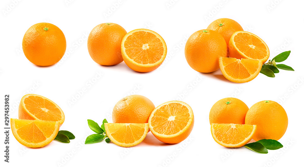 Fototapety, obrazy:  Set of Orange  isolated on white background.