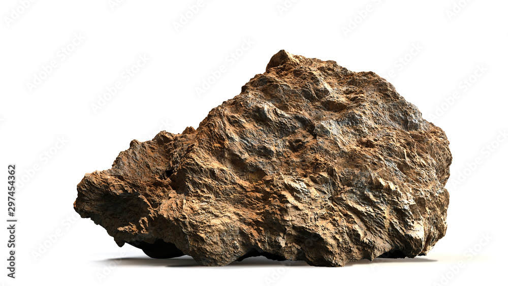 Fototapety, obrazy: natural brown stone isolated with shadow on white background