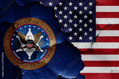 Obraz na plátně flags of United States Marshals Service and USA painted on cracked wall