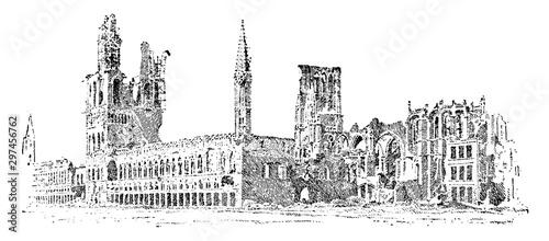 Photographie Guild Hall in Ypres, vintage illustration.