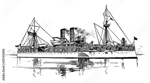 United States Battleship Maine, vintage illustration. Canvas Print