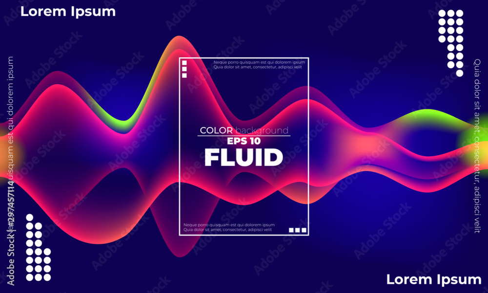 Fototapety, obrazy: Creative geometric wallpaper. Trendy fluid flow gradient shapes composition. Applicable for gift card,  Poster on wall poster template,  landing page, ui, ux ,coverbook,  baner, social media posted