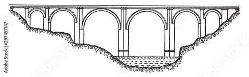 Photo Alcantara Bridge, vintage illustration.