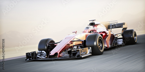Photo sur Toile F1 Motor sports competitive team racing. Fast moving generic race car racing down the track with motion blur. 3d rendering with room for text or copy space