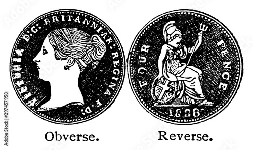 Obraz na plátně Fourpenny Piece of Queen Victoria, vintage illustration.