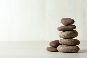 Stack of spa stones on tabl...
