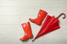 Color Umbrella And Rubber Boot...