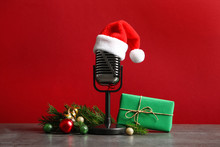 Microphone With Santa Hat And ...