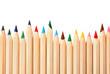 Leinwandbild Motiv Different color pencils on white background, top view. School stationery