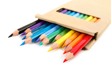 Box Of Color Pencils On White ...