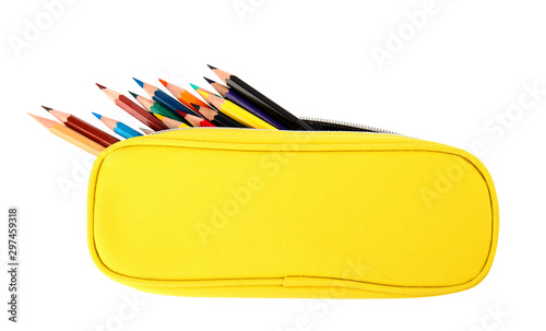 Case full of color pencils on white background, top view Wallpaper Mural
