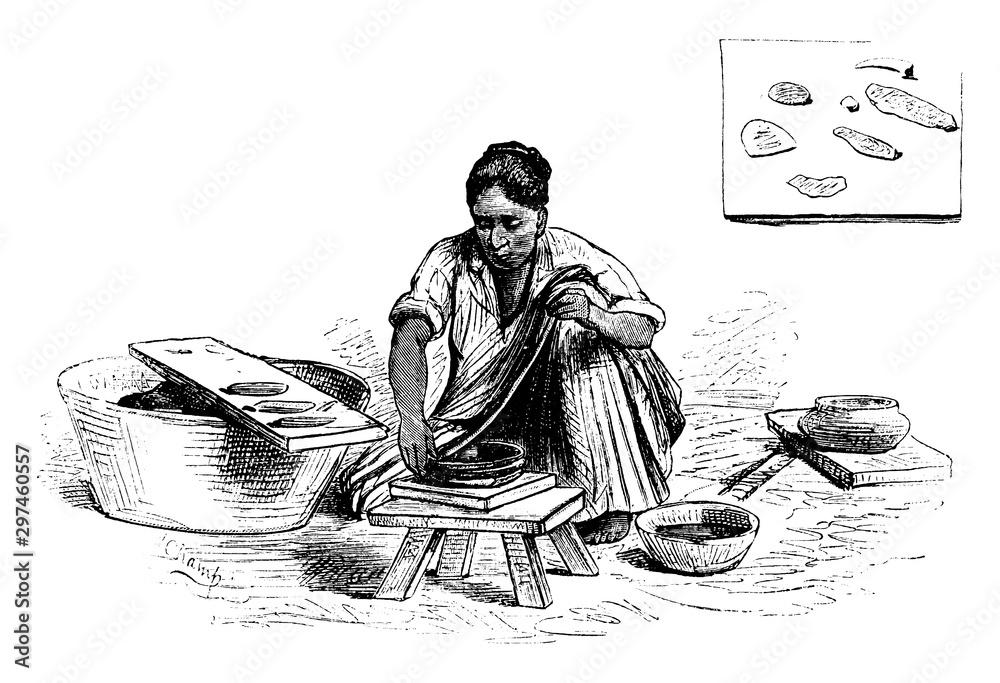 Fototapety, obrazy: Woman with Pottery, vintage illustration