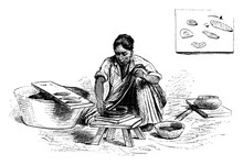 Woman With Pottery, Vintage Illustration