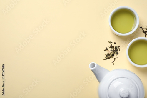 Recess Fitting Tea Flat lay composition with green tea on beige background. Space for text