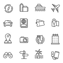 Set Of Travel Related Icon With Simple Line Design Isolated On White Background.