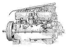 Carburetor Side View Of Six Cy...