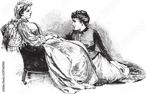 Obraz na plátně  Lounging Women, vintage illustration