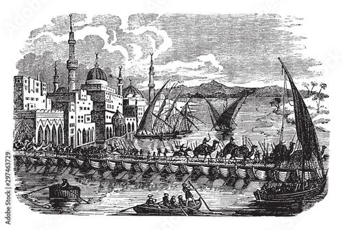 Ancient Bagdad, vintage illustration. Billede på lærred