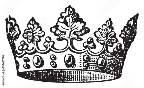 Obraz na plátně Crown, vintage illustration.