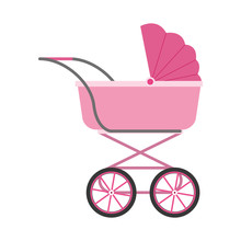 Baby Carriage Icon, Flat Design