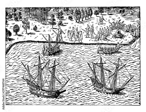 Fotomural The Huguenots - The Landing of John Ribault,vintage illustration.