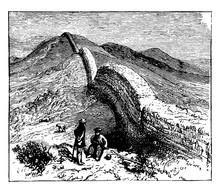Hadrian Wall, Vintage Illustration.