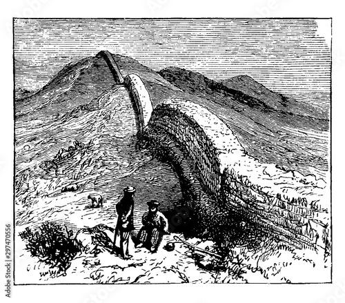 Valokuvatapetti Hadrian Wall, vintage illustration.