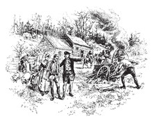 Colonists Panic,vintage Illustration