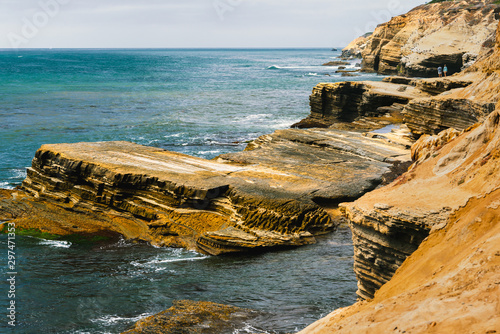 Cliffs and ocean. Awesome beach scene. Sunset Cliffs Natural Park at Point Loma, San Diego Peninsula, California