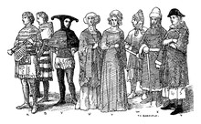 England Fourteenth Century Middle Ages Fashion, Vintage Illustration.