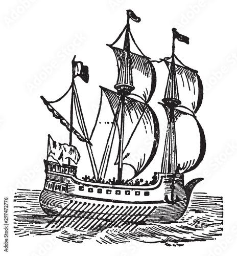 Galley, vintage illustration. Slika na platnu