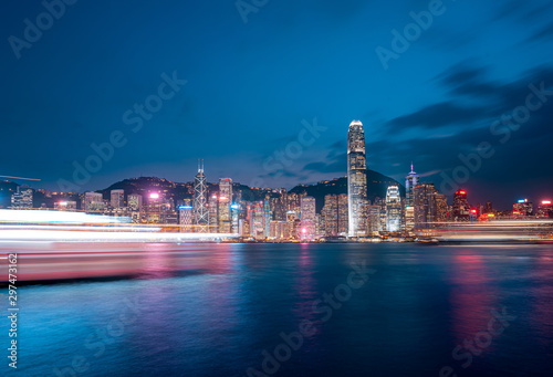 Fototapety, obrazy: Cityscape and skyline at Victoria Harbour in Hong Kong city at Night