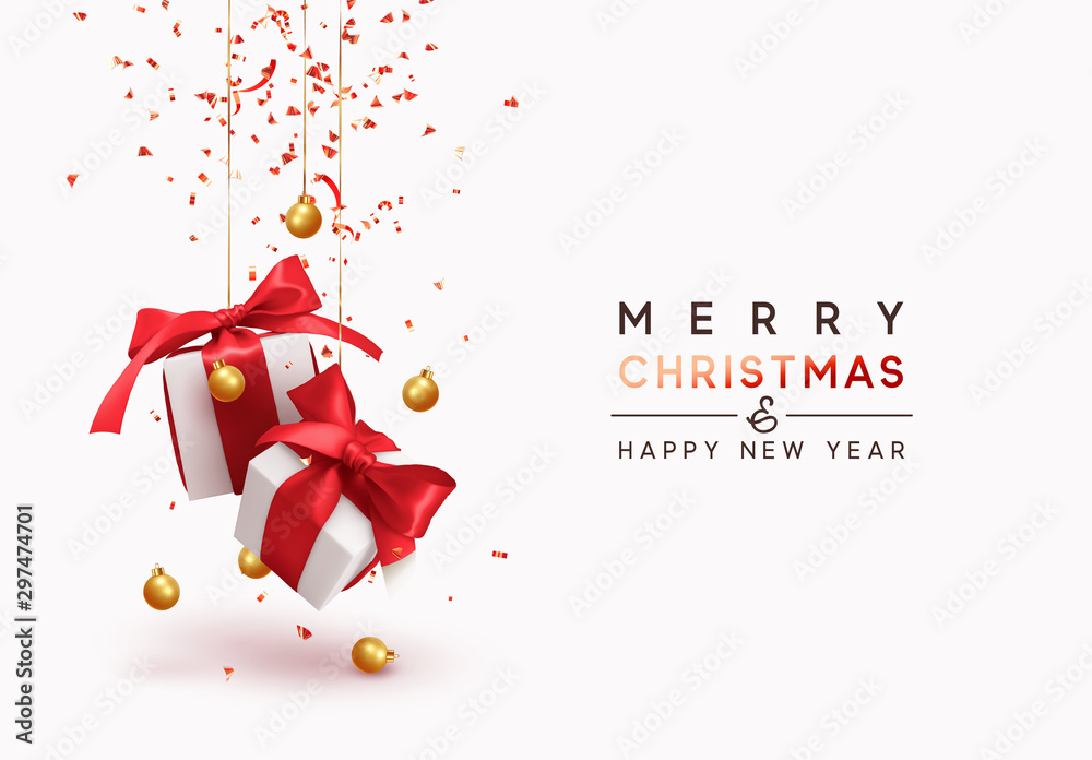 Fototapeta Merry Christmas and Happy New Year. Background with realistic festive gifts box. Xmas present. white with red ribbon gift surprise, Golden Christmas baubles, balls, glitter gold confetti.