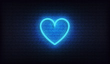 Heart Neon Sign. Glowing Brigh...