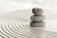 Zen Stones In The Sand. Beige Background