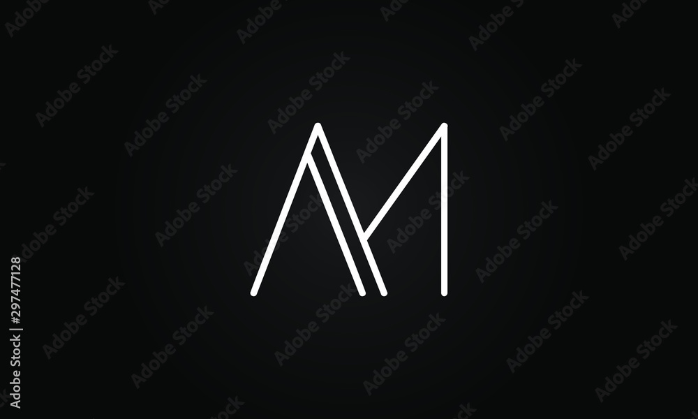 Fototapety, obrazy: AM OR MA initial based letter icon logo Unique modern creative elegant geometric fashion brands black and white color
