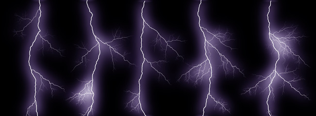 Five thunder lightning bolts isolated on black background