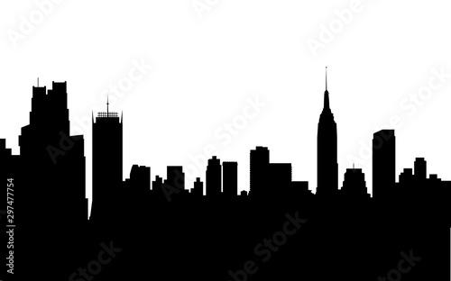 Fototapeta A graphic illustration of new york city skyline silhouette in black on a white background. obraz