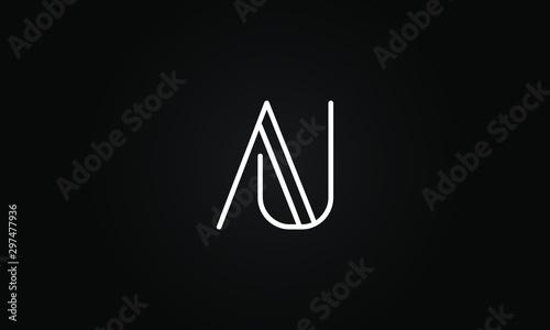 Photo AU OR UA initial based letter icon logo Unique modern creative elegant geometric