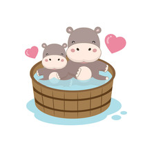 Happy Hippo And Baby In The Wo...