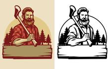 Bearded Lumberjack Mascot Hold The Axe