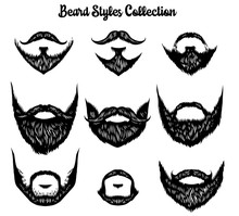Hand Drawn Of Beard Styles Col...