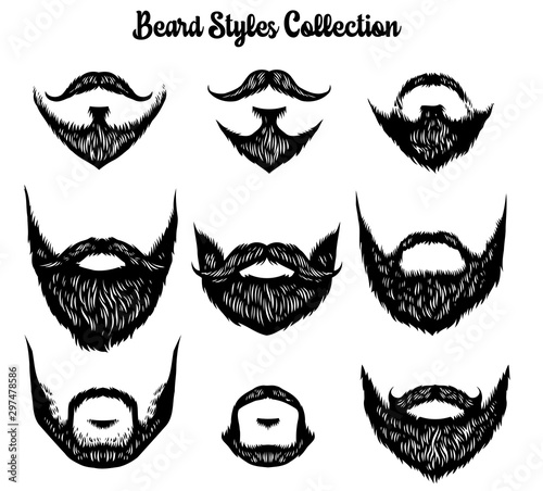 Canvas hand drawn of beard styles collection